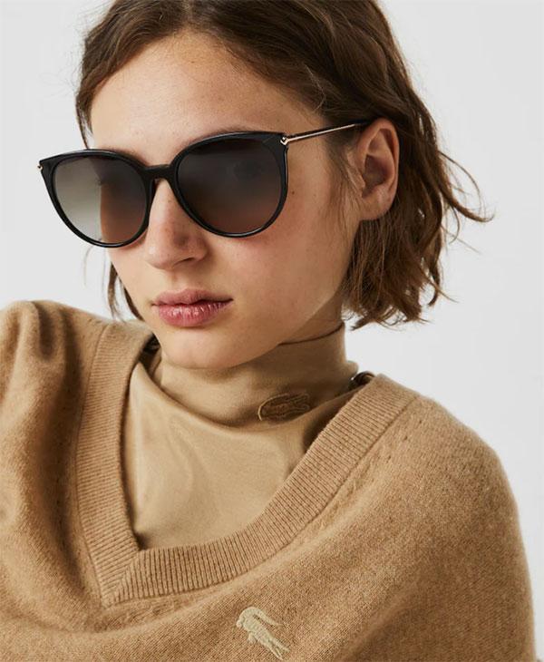 Lacoste Women Black oval sunglasses